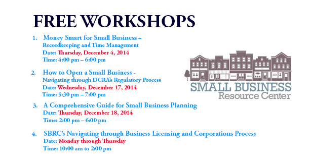 Free Workshops - Small Business Resource Center - December 2014