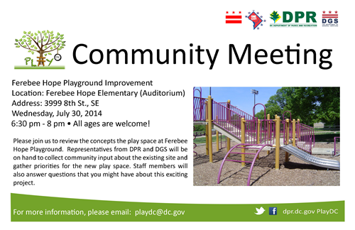 Ferebee Hope Playground Improvement Community Meeting Flyer July 30, 2014 (Download an accessible version, below)