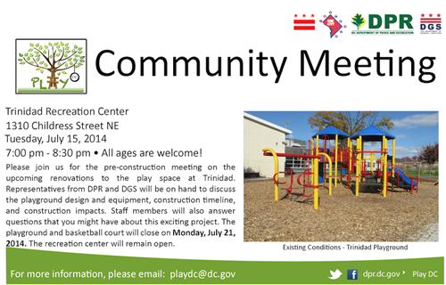 Trinidad Recreation Center Community Meeting Flyer July 15, 2014 (Download accessible version, below)