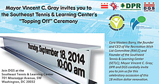 Southeast Tennis and Learning Center's 'Topping Off' Ceremony September 18, 2014 at 10 am