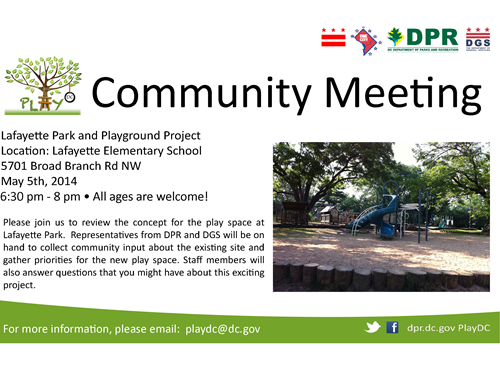 Lafayette Play DC Playground Community Meeting May 5