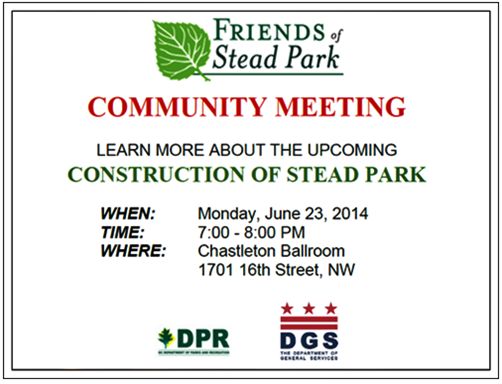 Stead Park Modernization Project Community Meeting June 23, 2014 flyer (Download an accessible version, below)