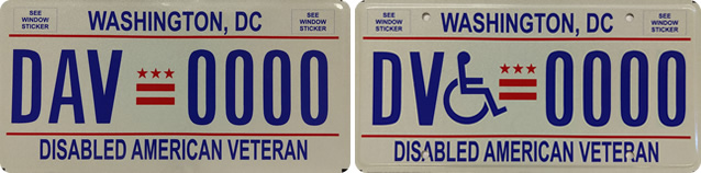 DC DMV Disabled American Veteran Tags