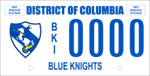 DC DMV Tag Blue Knights