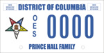 DC DMV Tag Prince Hall Order of the Eastern Star