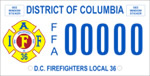 DC DMV Tag DC Fire Fighters Local 36