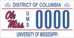 DC DMV Tag University of Mississippi (Ole Miss)