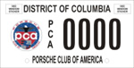 DC DMV Tag Porsche Club of America