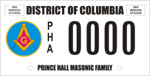 DC DMV Tag Prince Hall Masonic Family