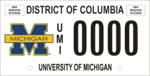 DC DMV Tag University of Michigan