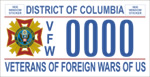 DC DMV Tag Veterans of Foreign Wars of US