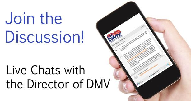 "hand holding smart phone - ""Join the Discussion.  Live Chats with the Director of DMV"""