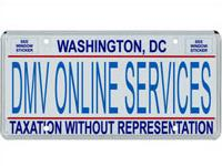 "fake license plate with ""DMV Onine Services"""